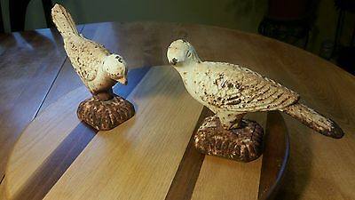 Pair Antique Architectural Cast Iron Bird Door Stop Figural Ornate Pigeons Doves