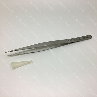 HAKKO CHP SS-SA Stainless Steel Precision Tweezers, Very Fine Point, Tapered Tin