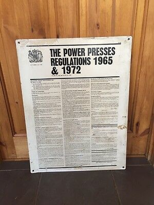 The Power Presses Regulations 1965 & 1972 Factories Act Vintage Sign