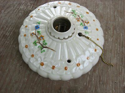 vintage Art Deco Flush Mount Ceiling Light Fixture w Flower Blossoms 1930's era