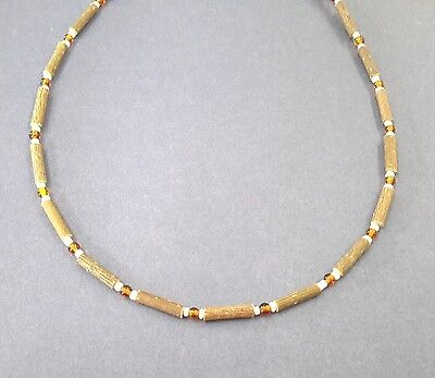 Hazelwood and natural baltic amber necklace
