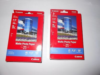 """Lot of 2x Canon 4"""" x 6"""" Matte Photo Paper MP-101 - 120 Sheets pack - 240 total"""