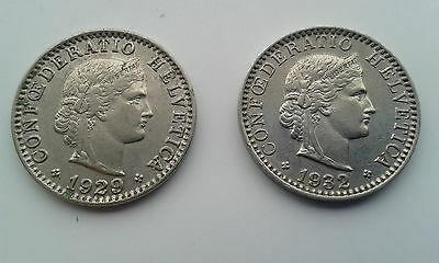 COINS - HELVETICA 20 (2 COINS) 1929 and 1932