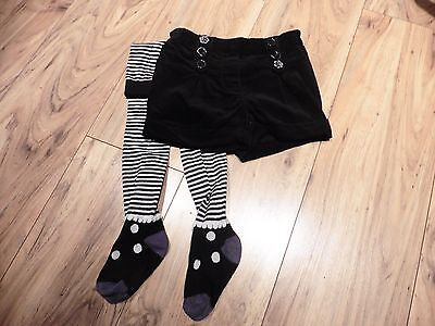 Girls Next Smart black shorts & tights set - aged 3-4 years