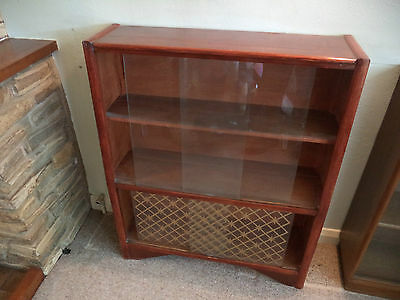 ANTIQUE COLLECTABLE TEAK DISPLAY CABINET 4 GLASS DOORS 1960's RETRO SHABBY CHIC
