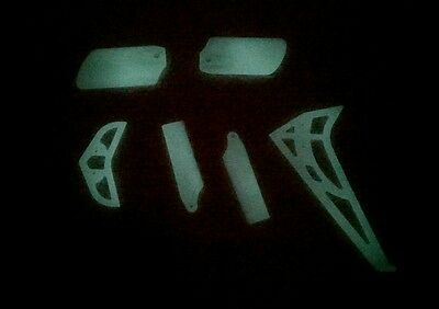 Trex 450 Glow in the Dark Tail Blades Fin Set and Paddles - Night Flying