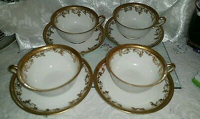 Noritake cup and saucer x 4 beautiful gold raised detail vintage?