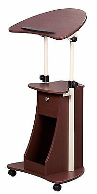 Rolling Podium Laptop Cart Pulpit Lectern Book Storage Church School Wood Table