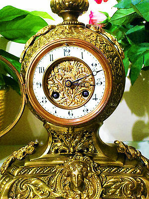 19-th CENTURY FRENCH BRASS MANTEL CLOCK GARNITURE BY F.MARTI & GIE