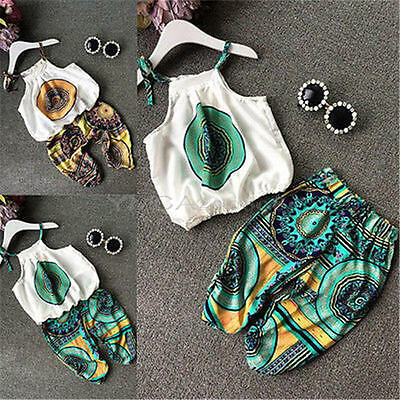 2PCS Toddler Kids Baby Girls Summer Clothes T-shirt Tops+Short Pants Outfits Set