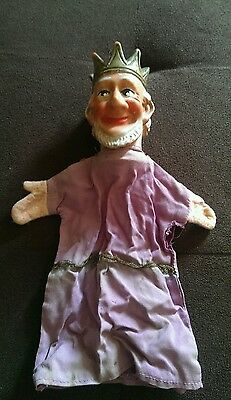 vintage plastic face king hand puppet