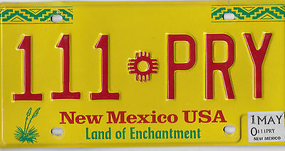 Wow 2010 Natural Authentic New Mexico Usa Zia License Plate # 111 Pry Excellent