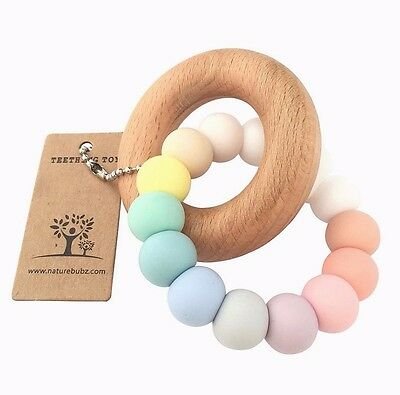 Nature Bubz Pastel Rainbow Baby Teething Toy - Brand New