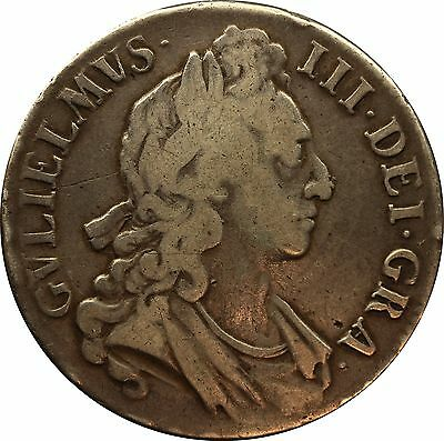 1696 OVER 1695 William III First bust OCTAVO silver Crown coin