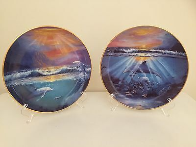 Franklin Mint Limited Edition Collector Plates Dawn and Dance of the Dolphin