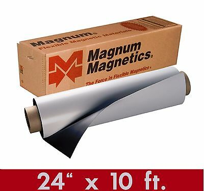 "Magnum Mag 24"" x 10 Ft ROLL 30 Mil. White Magnetic Sign Sheet Cars / Crafts"
