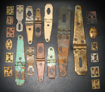 Vtg Brass Hasps and Staples Assorted Set, Steampunk