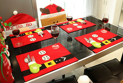 Christmas Dinner Placemat Table Mats Tablecloth Pad Gloves Santa Decoration