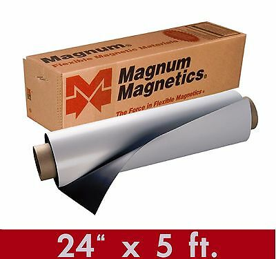 "Magnum Mag 24"" width x 5 Ft ROLL 30 Mil. Blank Magnetic Sign Sheet Cars / Crafts"
