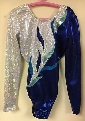 """New Milano Long sleeved Blue Gymnastic leotard - 34"""" age 13-15 Years"""