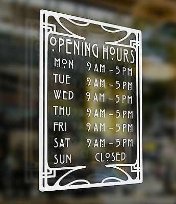 A4 Art Deco Style Shop Opening Times Sign (Deco2)