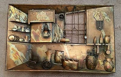Vintage Apex Metal Brass 3D General Store Picture Wall Plaque