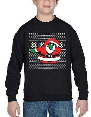 Dabbing Santa Youth Crewneck Ugly Christmas Merry Xmas Gift Noel Sweatshirts