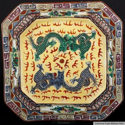 China 20. Jh. Teller - A Chinese Square Dragon Dish - Piatto Cinese - Chinois