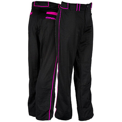 Combat Stock Adult Baseball/Softball Pant with Neon Piping - Black/Pink - XL