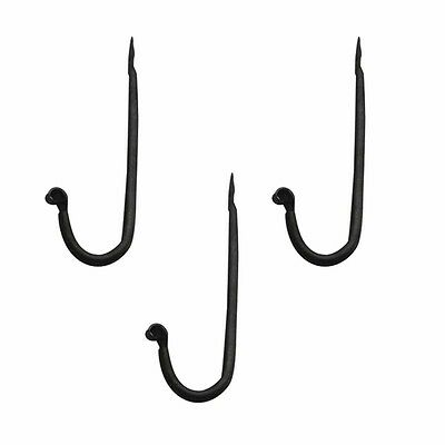 3 Coat Hooks Black Wrought Iron Rustproof Set of 3| Renovators Supply