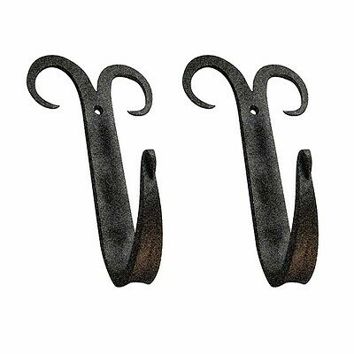 2 Coat Hat Robe Hook Wrought Iron Black Scroll 5 | Renovators Supply