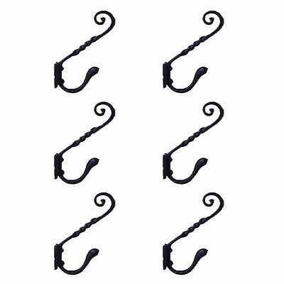 6 Coat Hook Black Wrought Iron RSF 5 3/4 H X 4 Projection | Renovators Supply