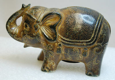 """RARE Vintage 5"""" tall Ceramic Elephant Piggy Bank with Stopper Viking Importrade"""