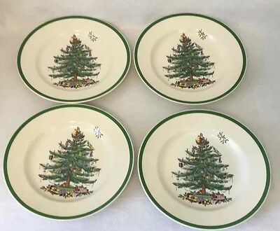 (4) Spode Christmas Tree Porcelain Dinner Plates S3324-A7 Holiday 10-1/2-Inch
