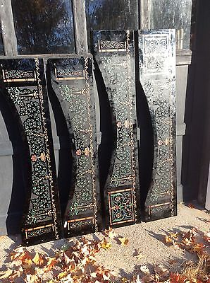 """4 Amethyst Glass Panels Door Topper Architectural Salvage Etched 2 X 60"""" & 2X53"""""""