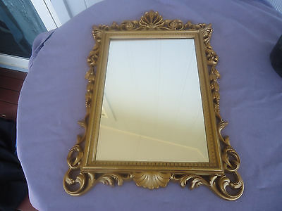 vintage ornate  gold frame wall mirror antique style 1970's