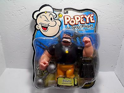 2001 Mezco Popeye The Sailor Man Bluto w/ Bar Bell and Weight Action Figure 4+