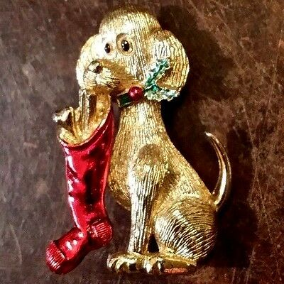 Vintage Gerrys Christmas Stocking Dog Gold Tone Signed Pin Free Shipping