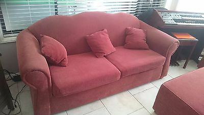 Red Lounge suite - three and two seat -  foot stool seat - 6 x cushions