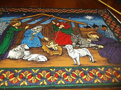 vtg The Nativity sewing fabric panel, quilt/wall hanging