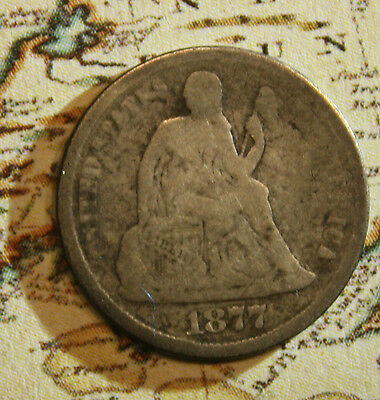 1877 Seated Liberty Dime Coin - lot NL414