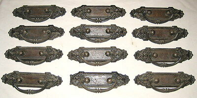 12 Rare Matching Antique Cast Iron Ornate Victorian Drawer Cabinet Pull Hardware