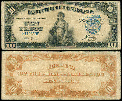 1933 US Philippines 10 Pesos BPI Bank of the Phil. Island Banknote #3