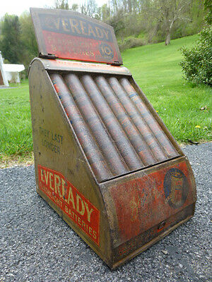 Vintage Tin Litho Eveready Flashlight Batteries 10 Cent Store Display Cabinet