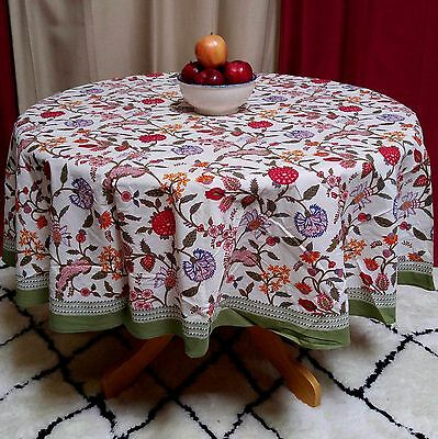 Cotton Berry Print Floral Tablecloth Round 70 inches Red Pink Blue Green