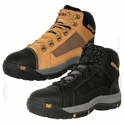New Caterpillar CAT Men's Leather Steel Cap Wide Safety Work Boots Convex Cheap