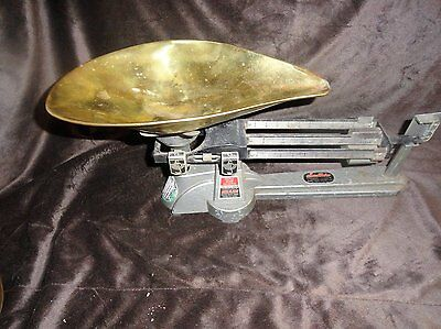 Antique Brass Pan Ohaus Triple beam weighing seed scales/Seedburo Co. Chicago