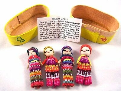 Four (4) Large Worry Doll Dolls In Wooden Box By Mayan Artisans Fair Trade