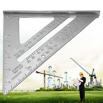 "7"" Alloy Speed Square Protractor Miter Double metric scale Ruler For Carpenter"