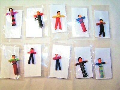 Pack Of Ten (10) Worry Doll Dolls With Story Made In Guatemala Children
